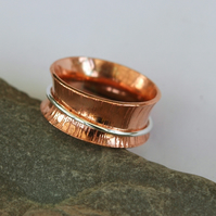 Hammered Copper and Sterling Silver Spinner Ring, size L-M,  R71B3