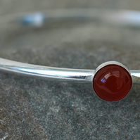 Sterling Silver Bangle with Carnelian Gemstone, Hallmarked, Medium,  B101