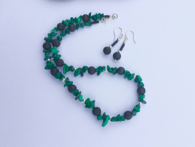 Green Malachite and Lava Rock Necklace and Earrings with Sterling Silver