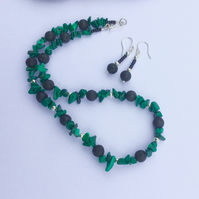Green Malachite and Lava Rock Necklace and Earrings with Sterling Silver,  S7
