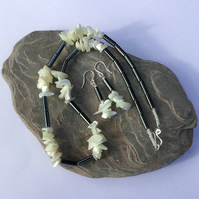 Sterling Silver, Haematite and Mother of Pearl Necklace and Earrings Set,  S10