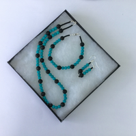 Silver Necklace, Bracelet and Earrings with Turquoise and Black Lava Rock,  S11