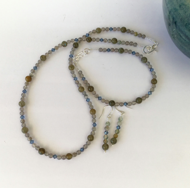 Silver Necklace, Bracelet and Earrings with Labradorite and Grey Agate,  S13