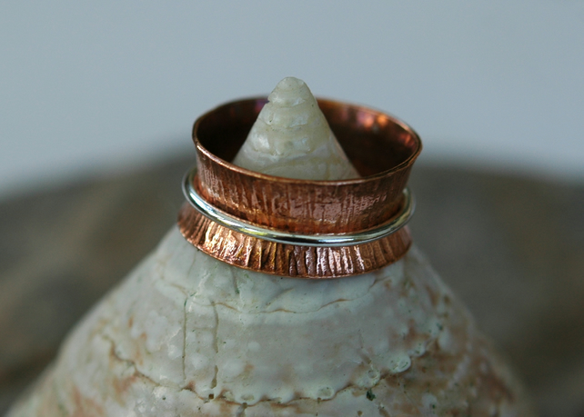 Copper Ring with Sterling  Silver Spinner,  size K-L