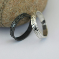 Pair of Silver Stacking Rings, 'Night and Day', size P-Q