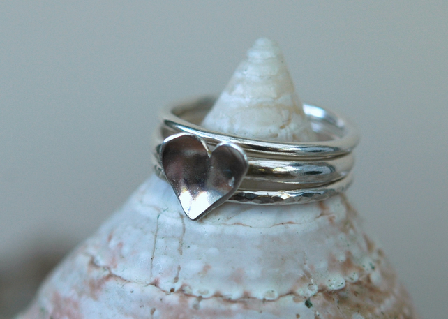 Trio of Silver Stacking Rings with Heart
