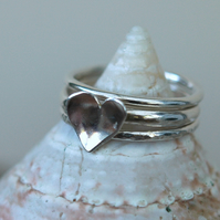 Trio of Silver Stacking Rings with Heart - Valentine's Gift