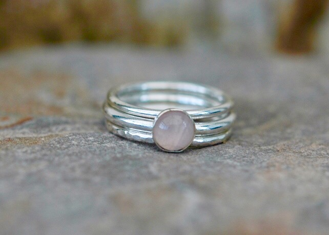 Trio of Silver Stacking Rings with Pink Rose Quartz, size M,