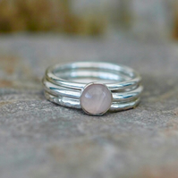 Trio of Sterling Silver Stacking Rings with Pink Rose Quartz, size M,  R143