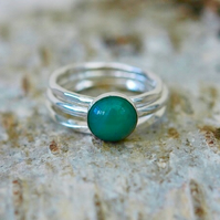 Trio of Sterling Silver Stacking Rings with Green Agate Gemstone