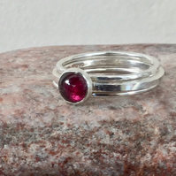 Trio of Silver Stacking Rings with Red Garnet, January birthstone, size M