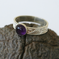Silver Ring, Leaf-Patterned, with Amethyst, February Birthstone, size M-N