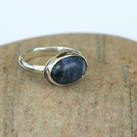 Silver Ring with Large Oval Blue Sodalite Gemstone,  size P