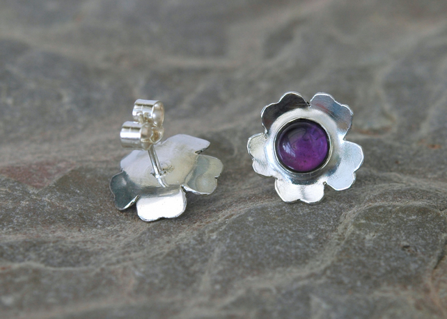 Sterling Silver and Amethyst Flower Stud Earrings,  E132