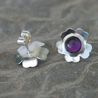 Sterling Silver Flower Stud Earrings with Amethyst, February Birthstone.