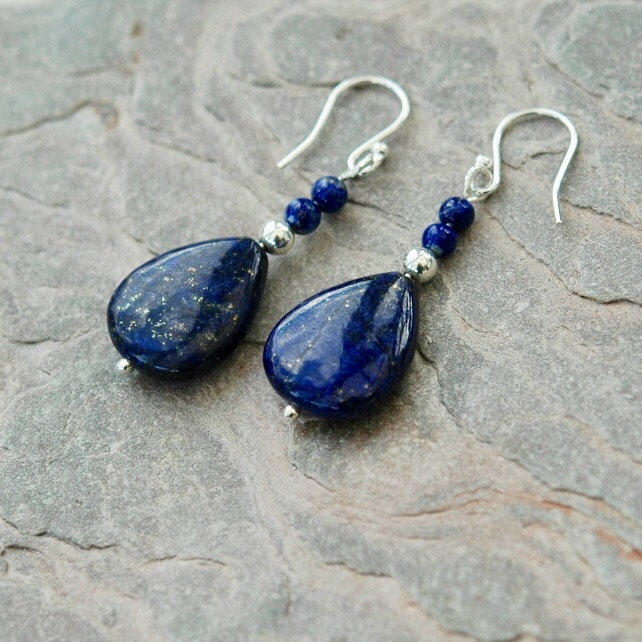 Lapis lazuli Drop Earrings with Sterling Silver,  E106