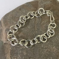 Sterling Silver Chunky Chain Link Bracelet, Classic Style,  B64