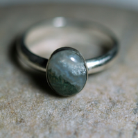 Sterling Silver Ring with Green Moss Agate Gemstone, size Q-R, Hallmarked