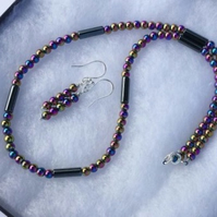 Sterling Silver and Rainbow Haematite Necklace and Earrings Set,  S9