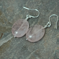 Sterling Silver and Pink Rose Quartz Drop Earrings, E133