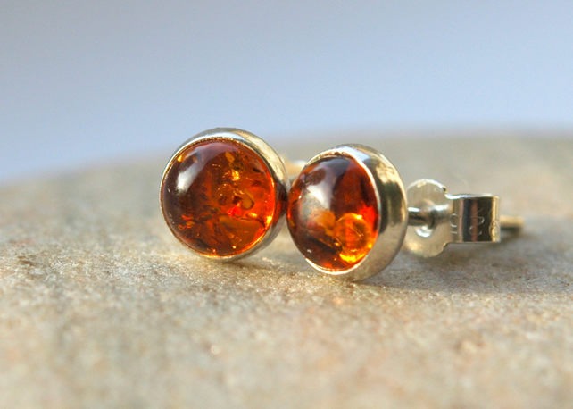 Amber and Sterling Silver Stud Earrings,  E135