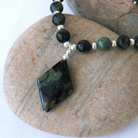 Kambaba Jasper and Sterling Silver Gemstone Necklace with Pendant,  P173