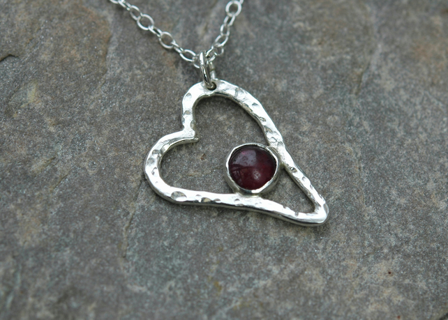 Sterling Silver Heart Pendant with Garnet Gemstone, Valentine's gift