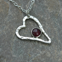 Sterling Silver Heart Pendant with Garnet Gemstone, Valentine's gift,  P135