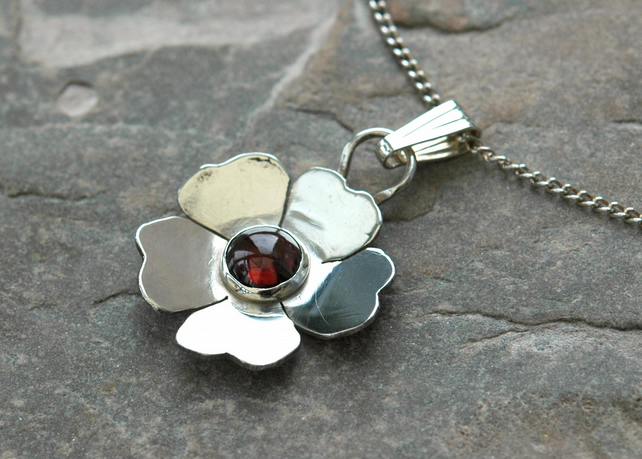 Sterling Silver Wild Rose Pendant with Garnet Gemstone, Hallmarked,   P76A