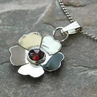 Silver Wild Rose Pendant with Garnet Gemstone, January birthstone