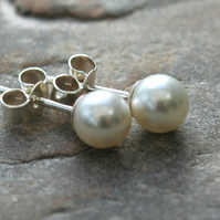Sterling Silver and Swarovski Pearl Stud Earrings.