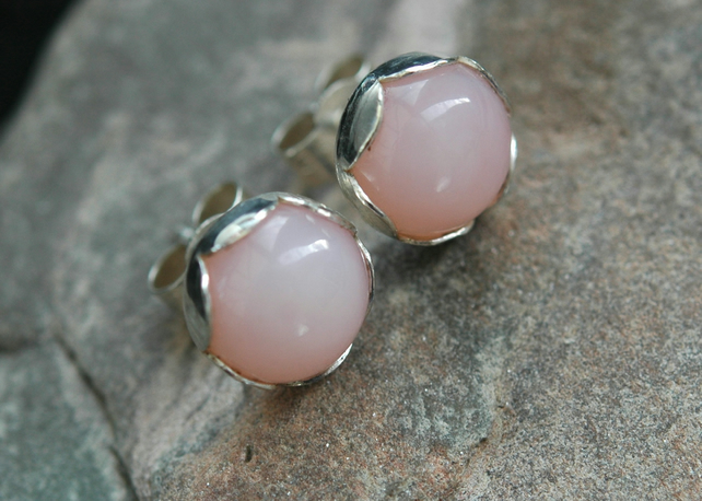 Sterling silver and Pink Opal stud earrings in Petal settings,  E139