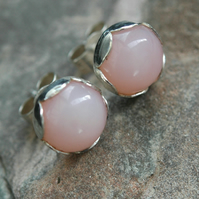 Sterling silver and Pink Opal stud earrings in Petal settings.October birthstone