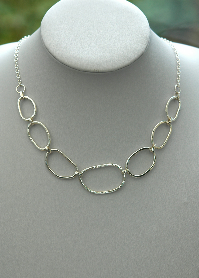 Sterling Silver Chain Link Necklace Hammered Folksy