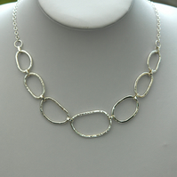Sterling Silver Chain Link Necklace, Hammered, Hallmarked,  P172