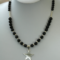 Sterling Silver and Blue Goldstone Necklace with Hammered Star Pendant,  P173