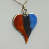 Sterling Silver Enamelled Heart Pendant