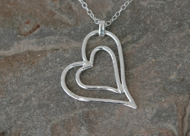 Sterling Silver Nested Hearts Pendant,   P177