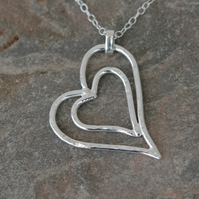 Sterling Silver Nested Hearts Pendant, Valentine's Gift,  P177