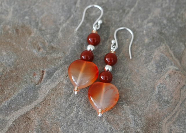 Carnelian Heart and Sterling Silver Drop Earrings