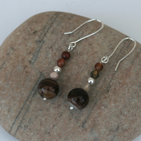 Sterling Silver Gemstone Drop Earrings with Coffee Lace Agate,  E140