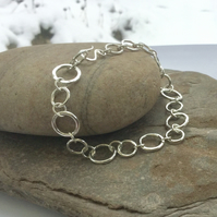 Sterling Silver Chain Link Bracelet, Hammered and Hallmarked