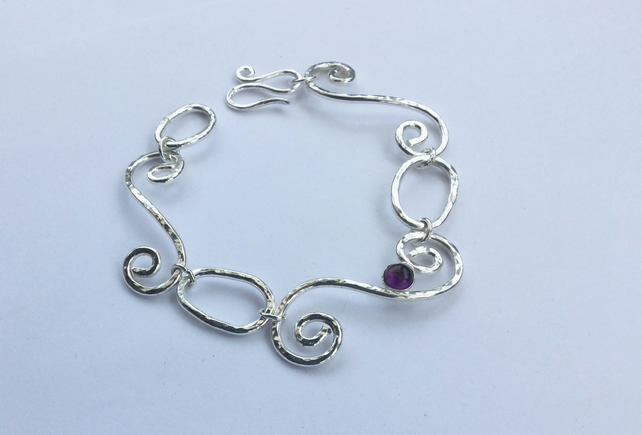 Sterling Silver Scroll Link Bracelet with Amethyst, February Birthstone
