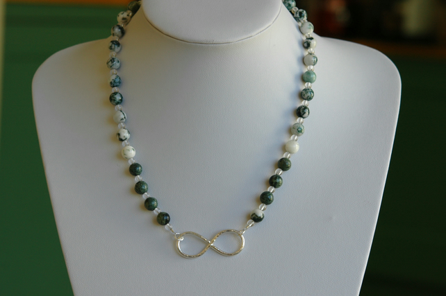 Sterling Silver Infinity Necklace with Moss Agate and Kambaba Jasper,  P179