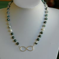 Sterling Silver Infinity Necklace with Moss Agate and Kambaba Jasper