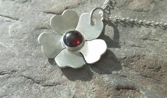 Sterling Silver Flower Pendant with Garnet, January Birthstone