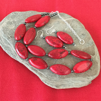 Red Magnesite and Sterling Silver Necklace and Earring Set,   S14