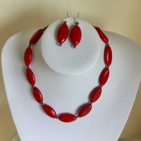 Red Magnesite and Sterling Silver Necklace and Earring Set