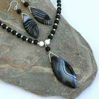 Necklace and Earring Set, Black and White Gemstones with Sterling Silver