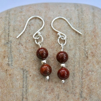Sterling Silver Gemstone Drop Earrings with Poppy Jasper